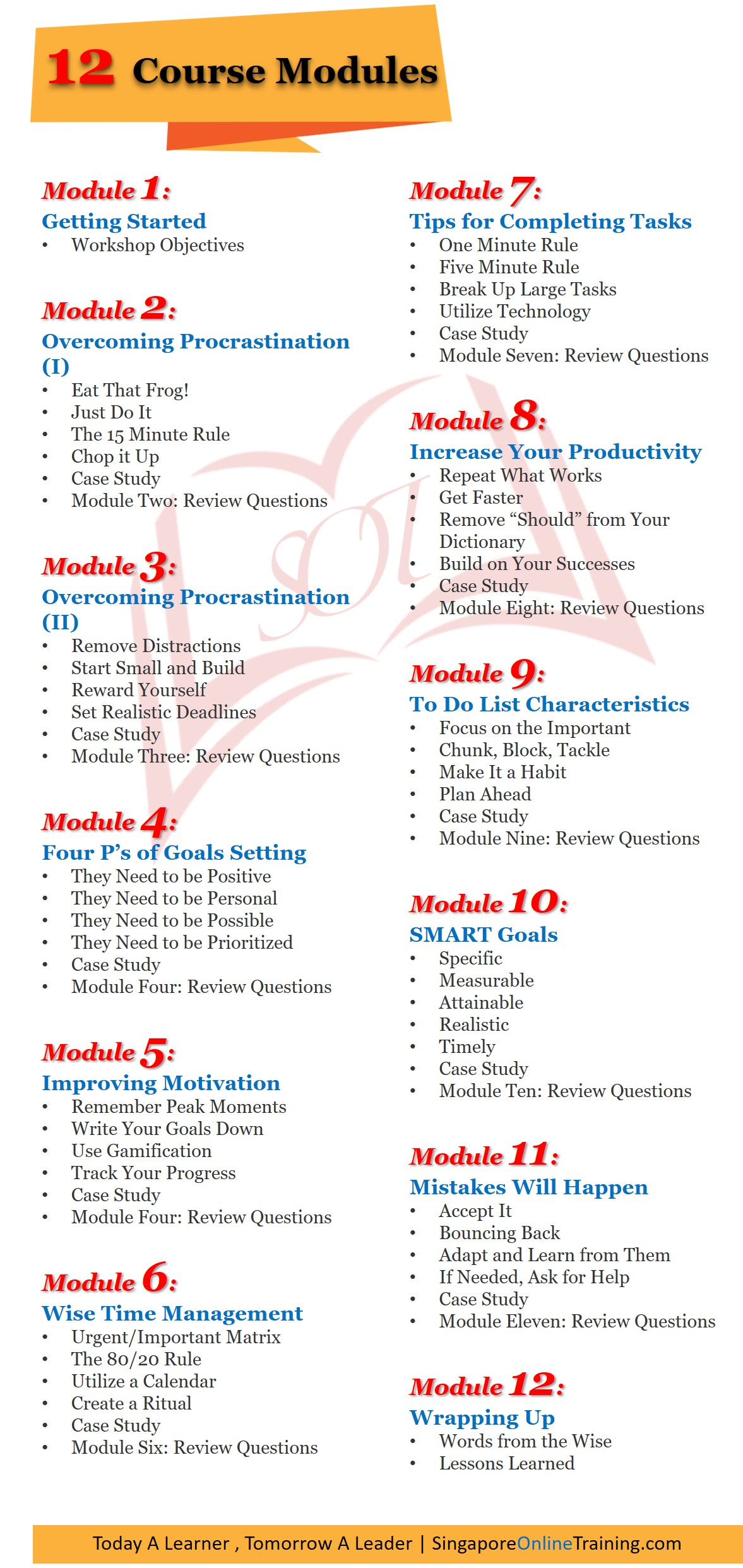Goal Setting and Getting Things Done Course Modules