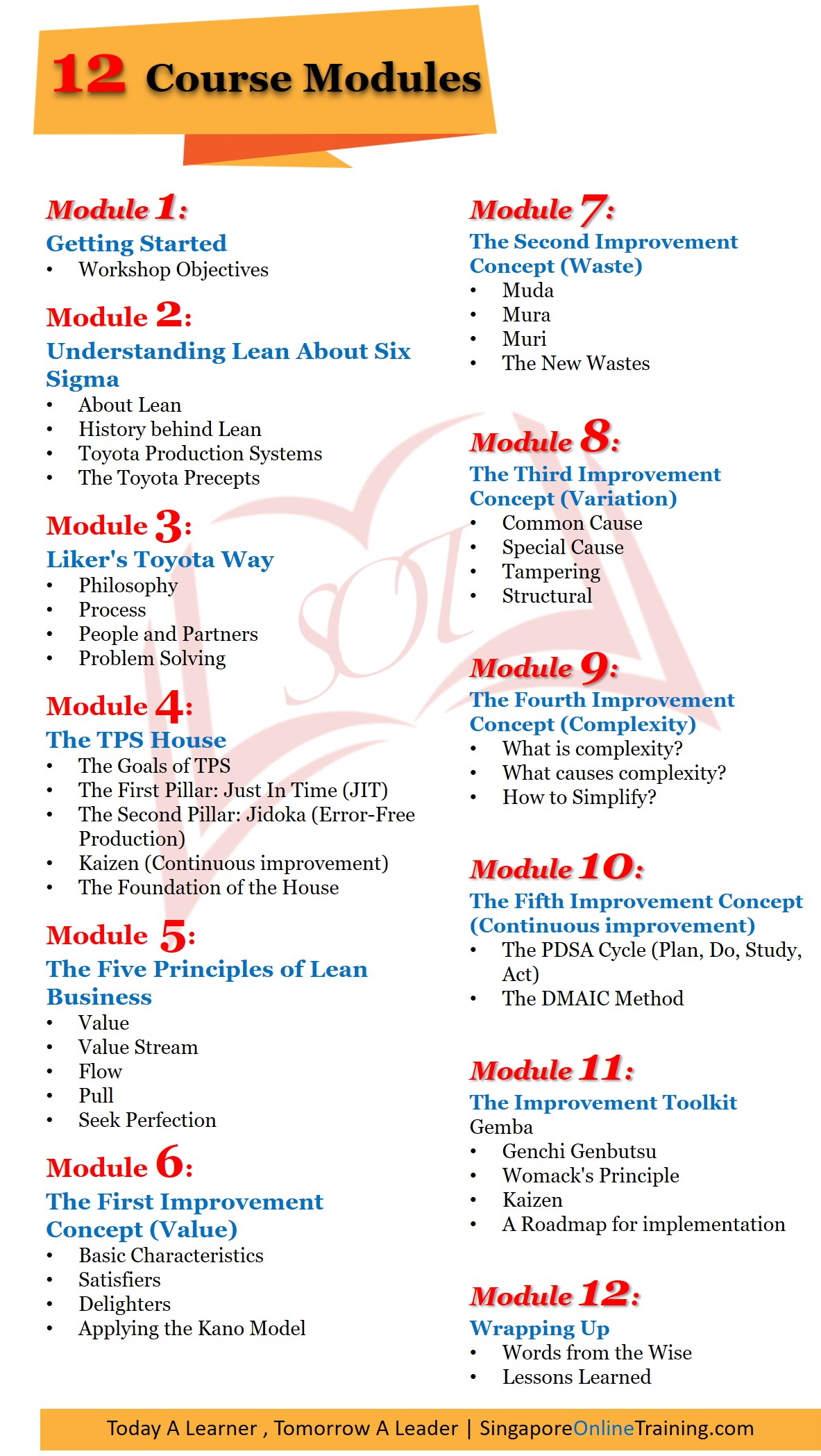 Lean Process And Six Sigma Course Modules