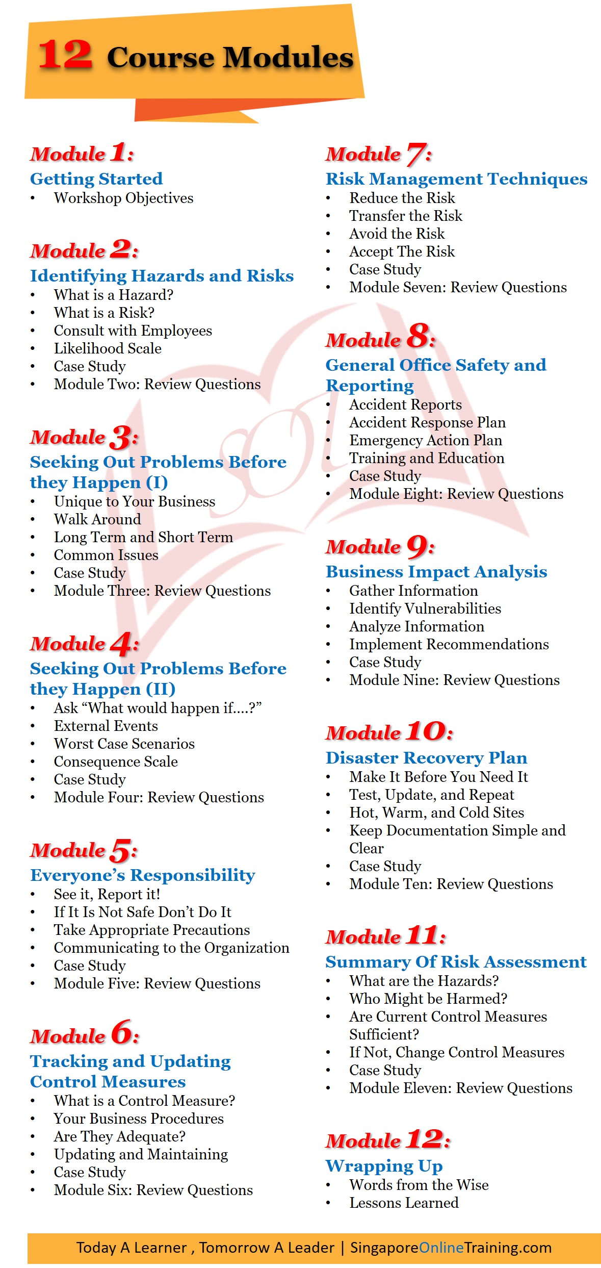 Risk Assessment and Management Course modules